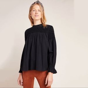 maeve / black long sleeve ruched top anthropologie